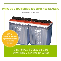 "2 Batteries 12v OPZs 150 ""Classic"""