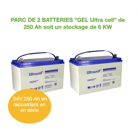 Parc de 2 Batteries de 250Ah 12v GEL UCG