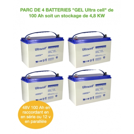 Parc de 4 Batteries de 100Ah 12v GEL UCG