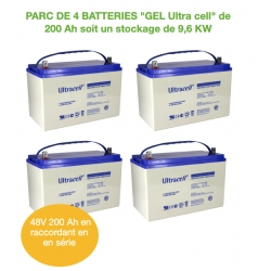 Parc de 4 Batteries de 200Ah 12v GEL UCG