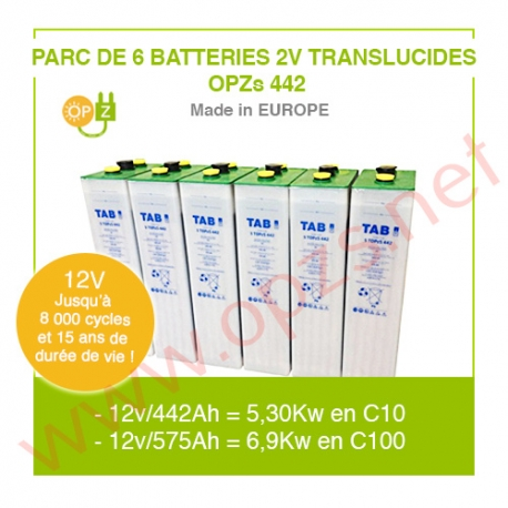 "Parc 6 Batteries 2v ""Translucides OPZs"" 442"