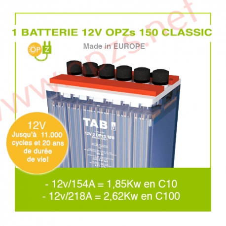 """1 Batterie 12v OPZs 150 """"Classic"""""""