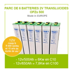 "Parc 6 Batteries 2v ""Translucides OPZs"" 500"