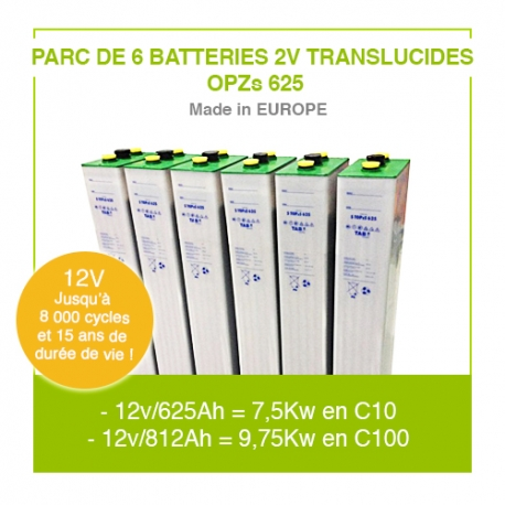 "Parc 6 Batteries 2v ""Translucides OPZs"" 625"