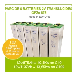 "Parc 6 Batteries 2v ""Translucides OPZs"" 875"